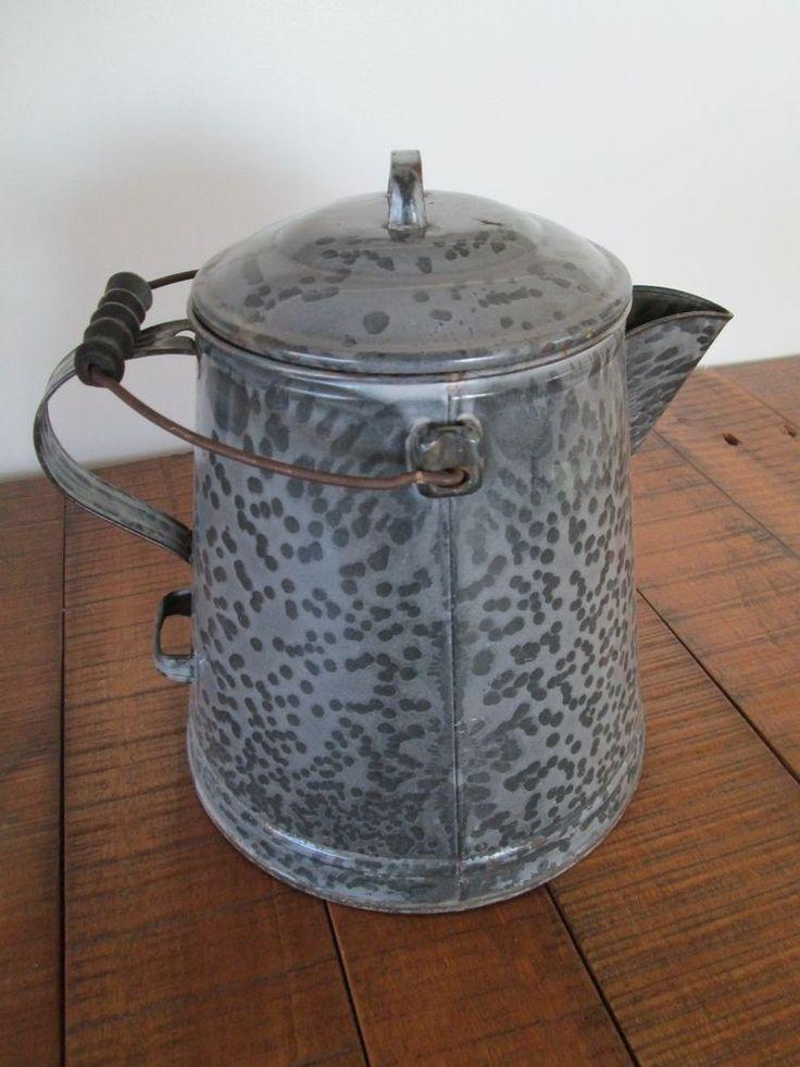 Gray Graniteware Coffee Pot Water Boiler Antique 3 Handles