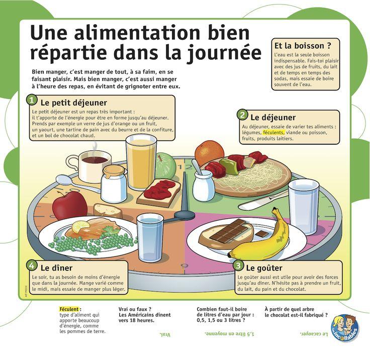 Une alimentation bien répartie dans la journée : petit déjeuner, déjeuner, goûter et dîner. http://agriculture.gouv.fr/bien-manger