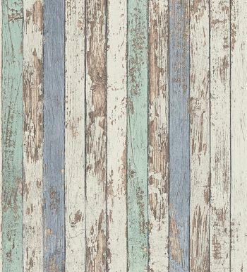 Papel pintado madera decapada vinílico estilo marinero - 1142395
