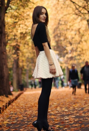 GEOMETRIC CREAM WHITE FUR SKATER SKIRT @goodnightmacaroon