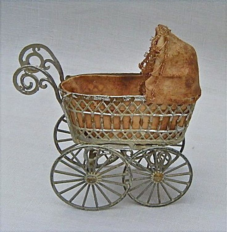 Antique Miniature Pewter Baby Carriage for Dollhouse