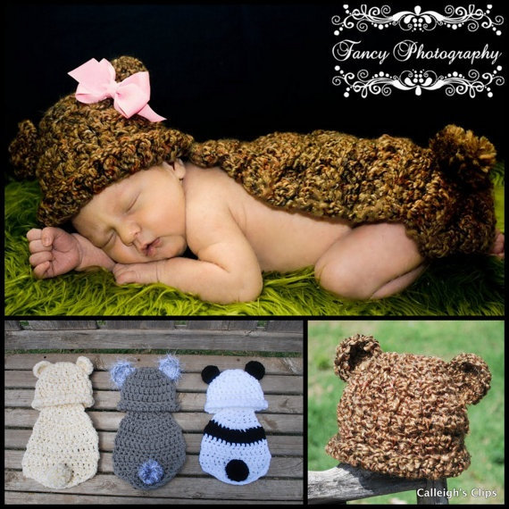 Bear crocheted baby outfits