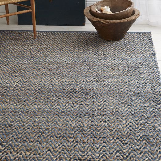 Jute Chenille Herringbone Rug Natural Blue Lagoon West Elm