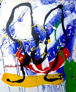 """ADALBERT von ROSEN """"Nya Målningar. olja,akryl,vinyl,sand,aska"""" """"Visual study no 4"""" Akryl på duk, 60x50 cm  """"Linjer, punkter, fläckar flyter omkring, klumpar ihop sig till hela kontinenter av färg eller tunnas ut till nästan obefintliga.  Bilder av slump och beräkning , där det oväntade och det överraskande kan bjuda på delikata och underfundiga visuella äventyr.""""  Stig Johansson Svd"""