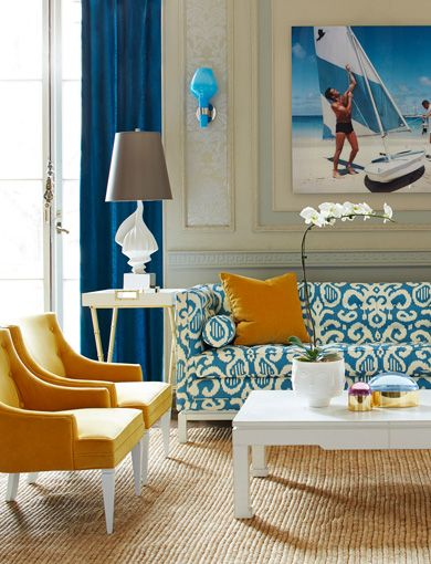 Gorgeous Living Room Design With A Slim Aarons Printed On Acrylic