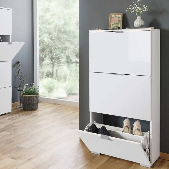 Melone Modern Shoe Cabinet In White And High Gloss Fronts