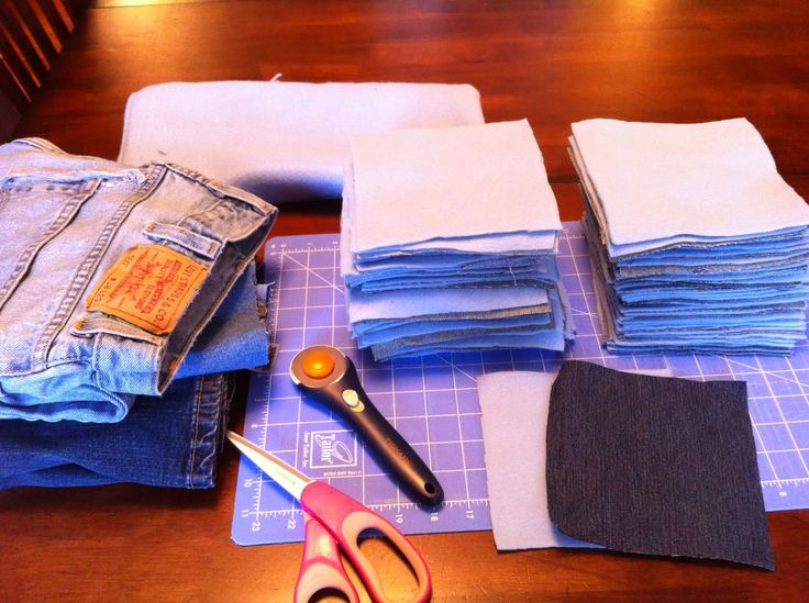 Got old blue jeans that are worn or don't fit stashed in your closet?     Turn them into something warm and fuzzy...     A blue jean ra...