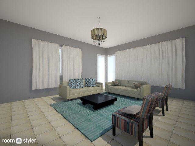 Torre CG6. Sala : Cortinas, Lamparas de techo. alfombra, tapizado butacas, cojines Paredes gris oscuro para destacar cortinas blancas