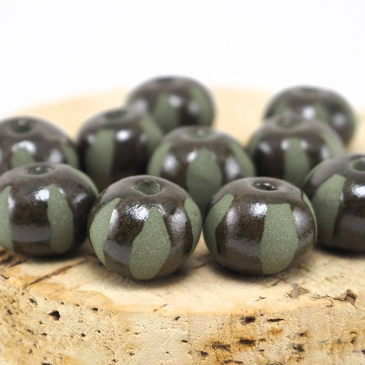 Green clay beads  #beads #etsystudio #pottery #ceramics