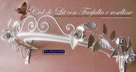 Ciel de lit in ferro battuto bianco. Roselline e Farfalla