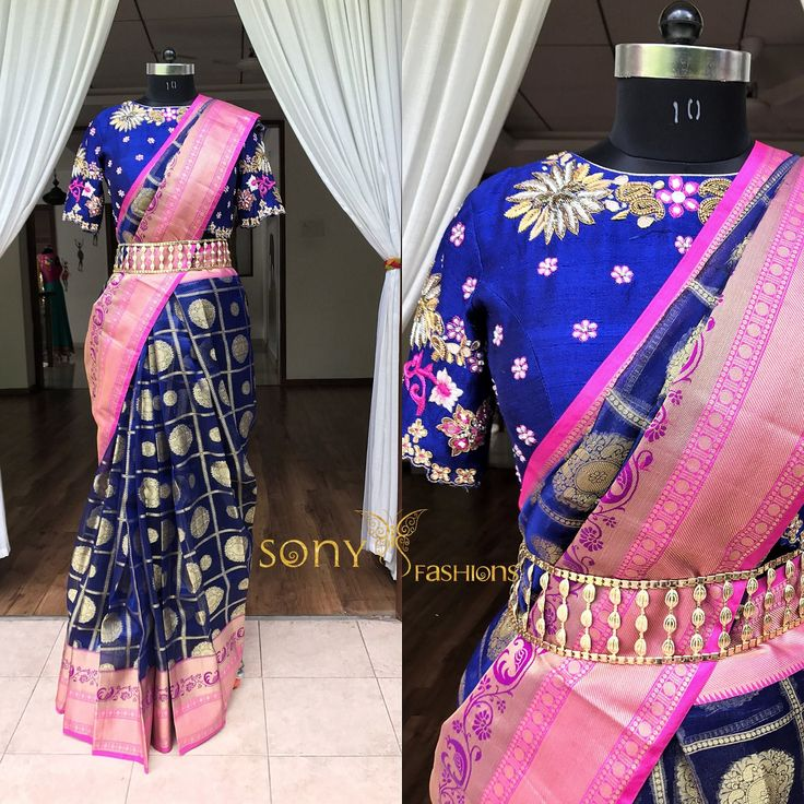 Magnificent Ethnic ensemble isn t it !!!! Beautiful royal blue designer saree and designer blouse with hand embroidery thread work.For more info mail  at :- Teamsonyfashions@gmail.comcall or whtsapp:-8008100885  22 June 2017