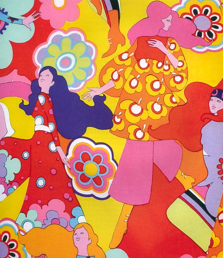 psychedelic 1960s bright fashion pattern