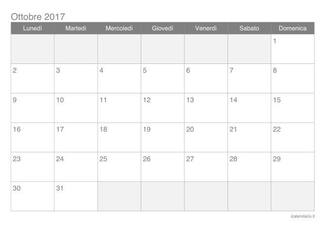 Calendario di ottobre 2017