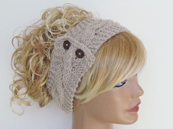 Stone Knitted Headband With Wooden Buttons Ear Warmer Turban Cozy Exclusive Favorite Women's Knit Fashion Hair Accessories