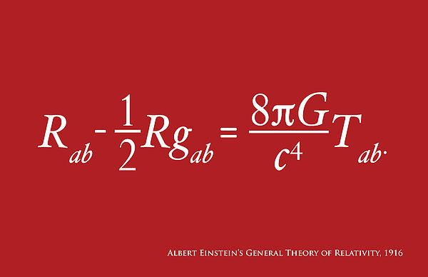 Albert Einstein's equation for the General Theory of Relativity, on a red background. General relativity generalises special relativity and Newton's law of universal gravitation, providing a unified description of gravity as a geometric property of space and time, or spacetime.