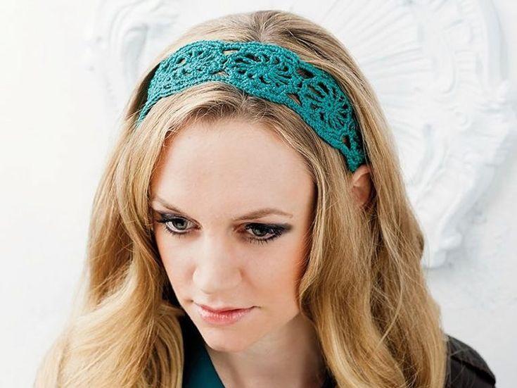 DIY-Anleitung: Breites Spitzen-Haarband häkeln / tutorial: crocheting wide lace hair band via DaWanda.com