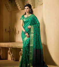 Buy Green Zari silk saree with blouse banarasi-silk-saree online