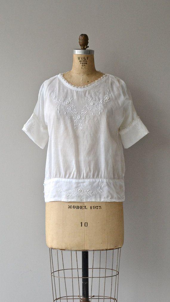 Daybreak tunic vintage 1920s blouse white cotton by DearGolden