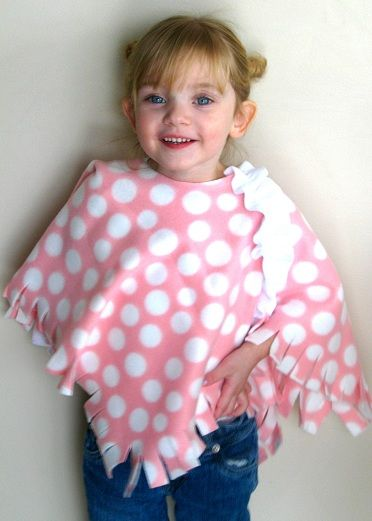 "Toddler Fleece Poncho: This can be as simple as you want to make it! A fun no-sew project. I added a little ruffle to this one, but it isn't necessary. Just cut the fleece and you are done! 3/4 of a yard will make 2 of these babies! She loves her ""shoulder blanket"" :)"