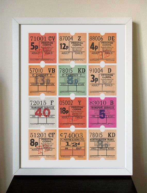 12x16 Giclee - All Aboard Bus Tickets.  I like that it's made to fit an Ikea Frame.  Affordable Art!