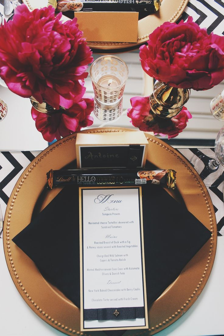 French Glam menu card and name place card for The Emerald Room - d3tinvitations