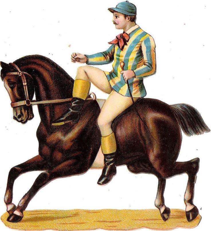 Oblaten Glanzbild scrap die cut chromo Zirkus  13,8 circus cirque Artist Pferd