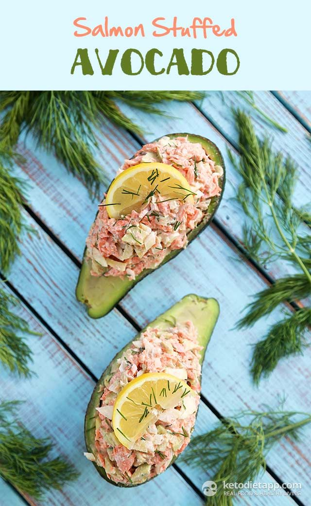 The KetoDiet Blog | Salmon Stuffed Avocado / #lowcarb shared on https://facebook.com/lowcarbzen