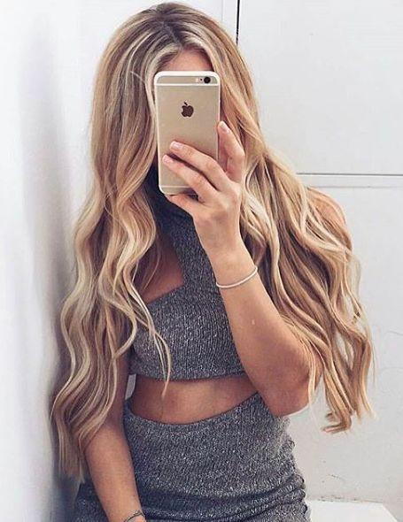High light activation. Long blonde hair
