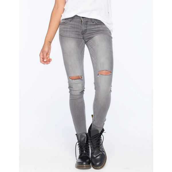 Flying Monkey Knee Slit Womens Skinny Jeans ($63) ❤ liked on Polyvore featuring jeans, grey, zipper jeans, mens jeans, skinny leg jeans, gray jeans and faded skinny jeans