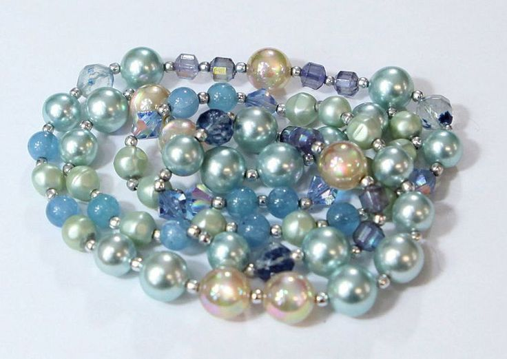 Ocean Blue Lucite Pearls, Moonglows & Faceted Crystal Necklace by GenusJewels on Etsy