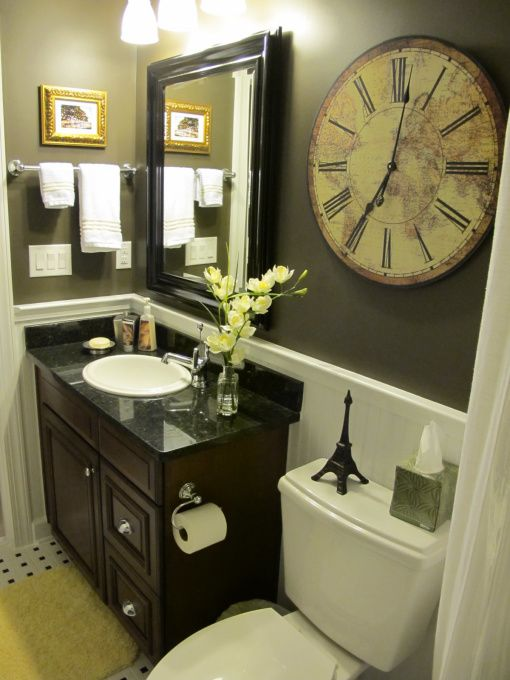 this is the EXACT set up of my bathroom .. Like the green colored walls and Darn brown sink and vanity ...