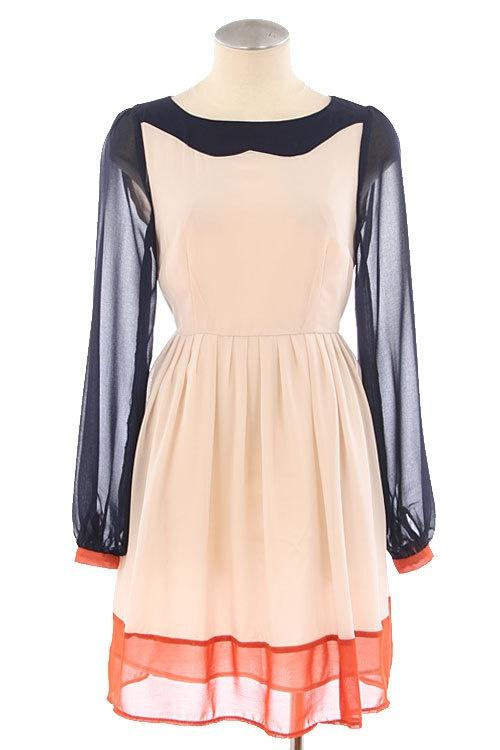 : Colors Combos, Romantic Chiffon, Mod Colors, Dresses Up, Blocks Dresses, Blue Colors, Vintage Inspiration, Colors Blocks, Chiffon Dresses