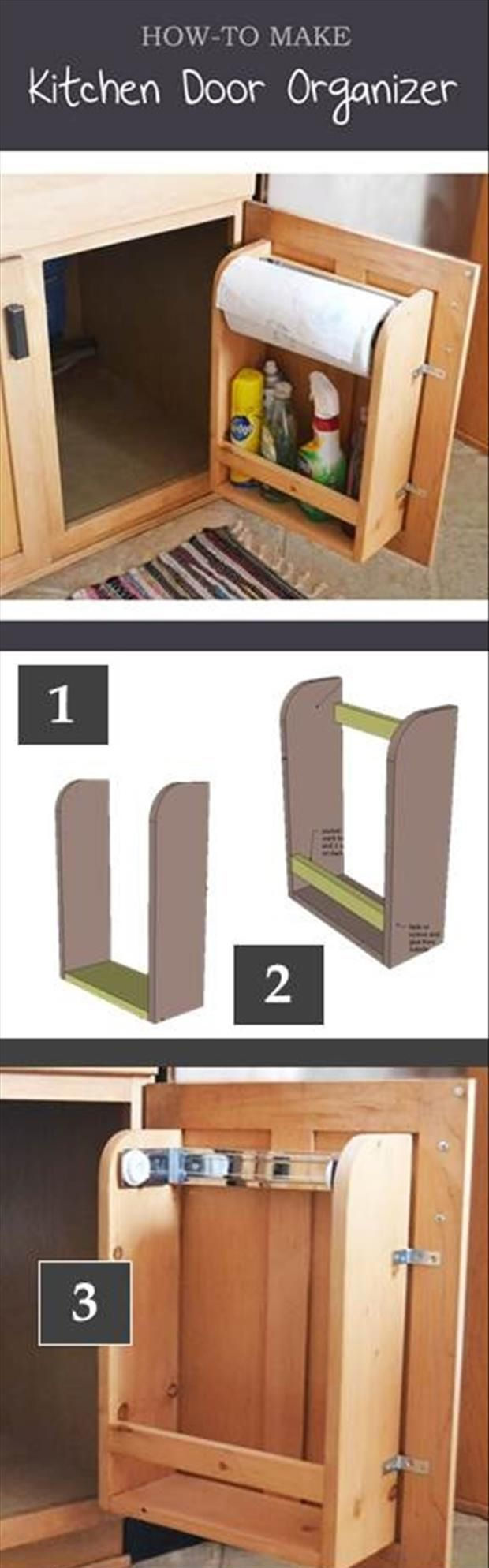 How To Make A Kitchen Cabinet Door Organizer With Paper Towel Holder For Less Than Ten Dollars How To Make A Kitchen Cabinet Door Organizer With Paper