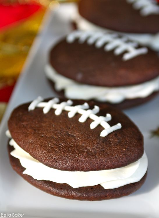 Football Whoopie Pies. Perfect for tailgate or birthday parties. #Food #TailgateParty