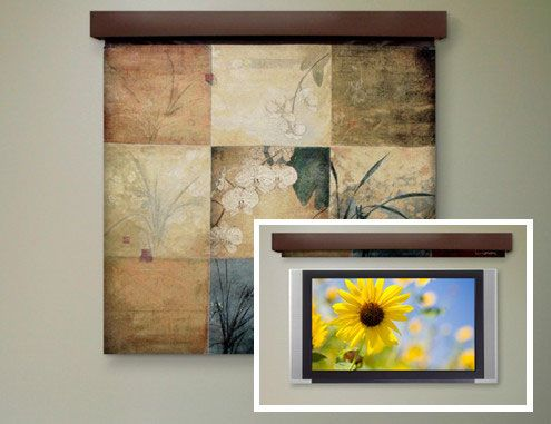 "Dgital Roller Shade to cover the TV. Like this: Fine Art for FlatScreens features ""PictureWeave"" tapestries created with the ""utmost quality and craftsmanship,"" according to Draper."