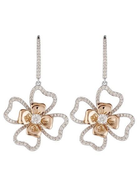 White and Rose Gold Diamond Set Rose Earrings