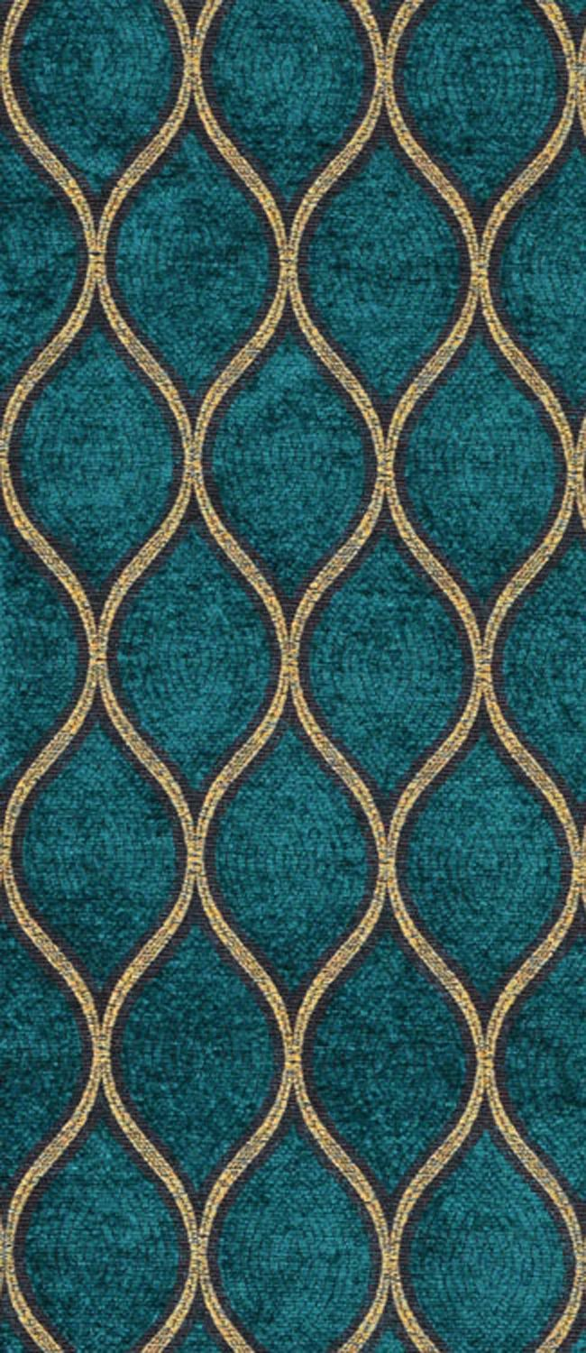 Iman Malta Peacock Fabric dark teal and gold fabric