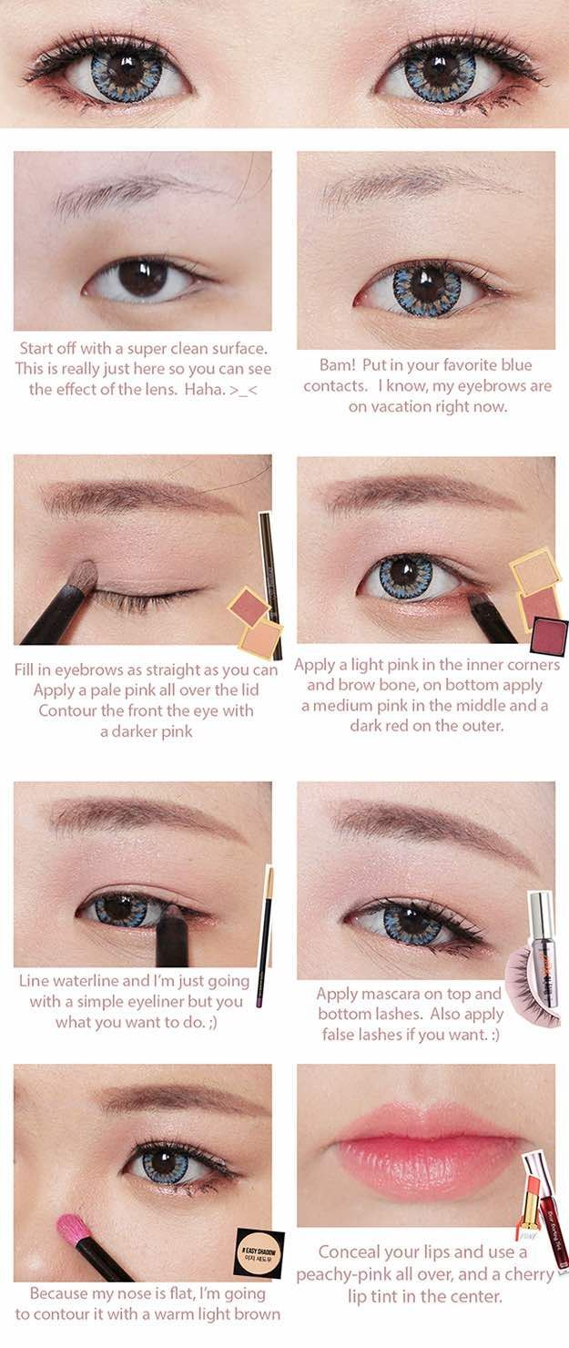 Best Korean Makeup Tutorials - Red Velvet Ice Cream Makeup Tutorial with ICK Gaudy Blue & Brown Long Wig - Natural Step By Step Tutorials For Ulzzang, Pony, Puppy Eyes, Eyeshadows, Kpop, Eyebrows, Eyeliner and even Hairstyles. Super Cute DIY And Easy Contouring, Foundation, and Simple Dewy Skin Help For Beginners - http://thegoddess.com/best-korean-makeup-tutorials