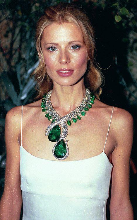 Cartier fashion jewelry - Laura Bailey models a twelve million dollar Cartier necklace.