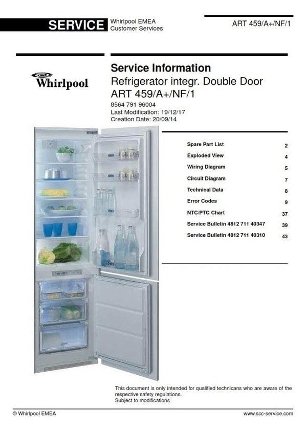 whirlpool art 459/a/nf/1 refrigerator service technicians