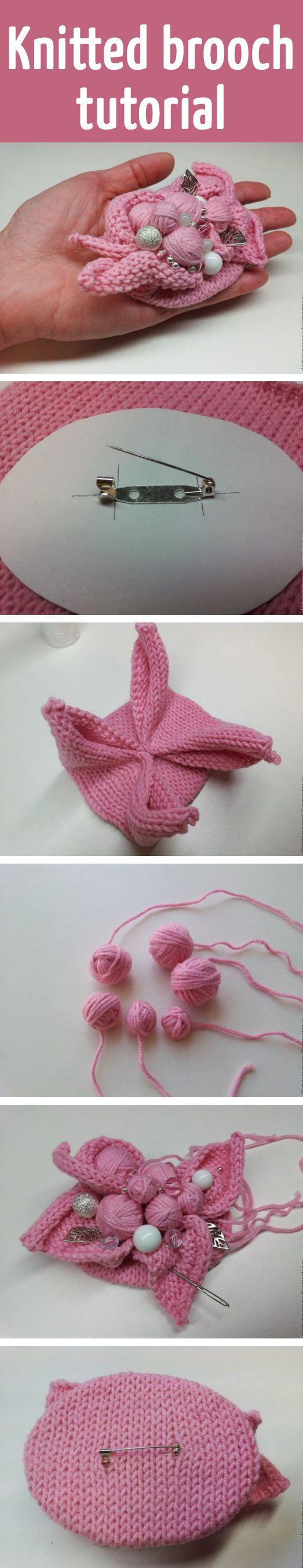 Knitted brooch tutorial
