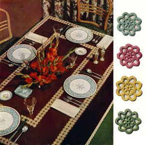 Virginia Modern Tablecloth crochet pattern from Bedspreads & Tablecloths, originally published by Coats & Clark, Book No. 301 in 1953.
