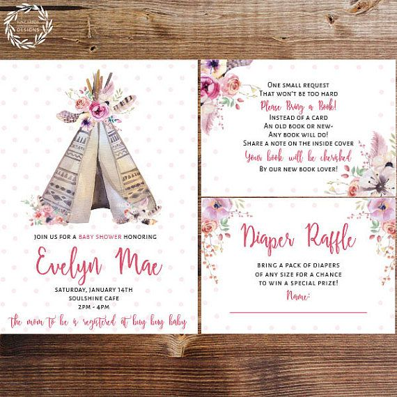 Raising a tribe? This sweet teepee invitation suite is for you! Check out the matching invitation, diaper raffle card and bring a book card can help you pull together a fun and stylish baby shower! #raisingmytribe #teepee #babyshower #babyshowerinvitation #babygirl#babygirlinvitation #tribal #aztex