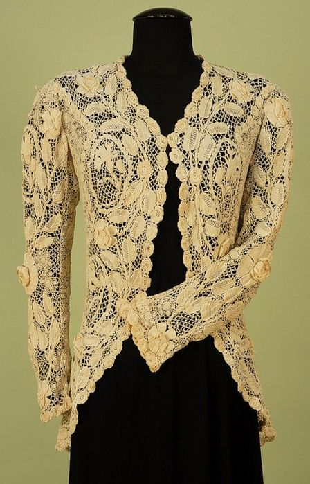Crochet irlandês, seculo XIX: Crochet Details, Irish Crochet, Long Peplum, Crochet Irlandê, Free Crochet, Crochet Jackets, Irish Lace, Crochet Lace, Crochet Patterns
