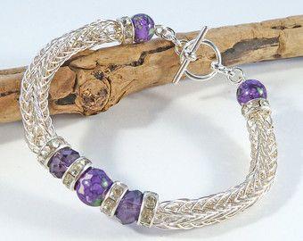 Viking Weave Beaded Bracelet Viking Knit by BeauBellaJewellery