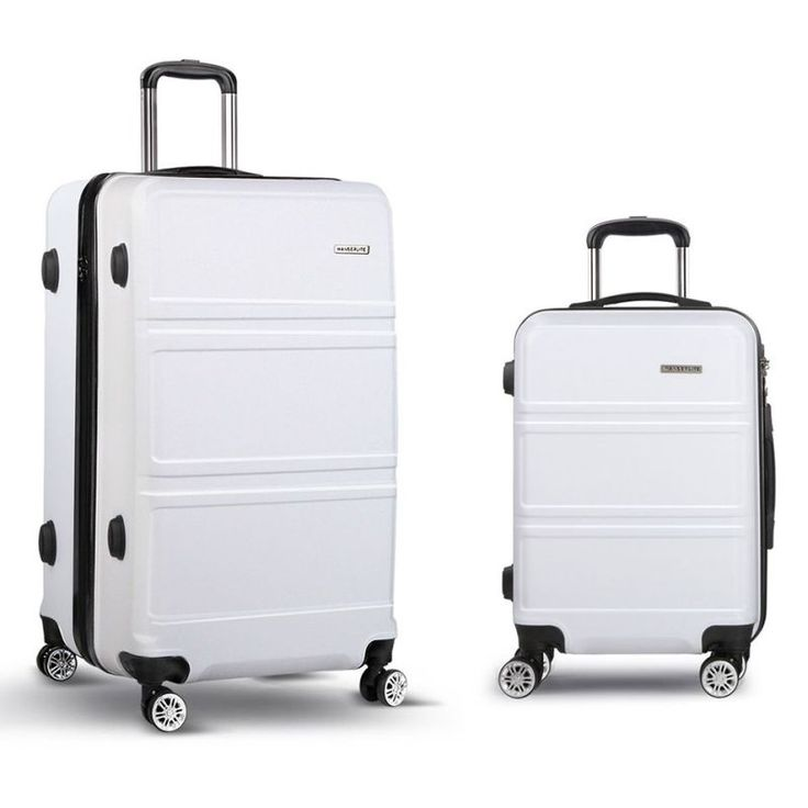 2pc Hard Shell Travel Luggage Suitcase Set in White | Buy New Arrivals