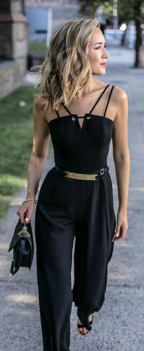 black sleeveless wide leg jumpsuit, gold waist belt, block heel sandals, black handbag + curled hairstyle {black halo, b-low the belt, steve madden, m2malletier} {what to wear to a rehearsal dinner} {little black jumpsuit}