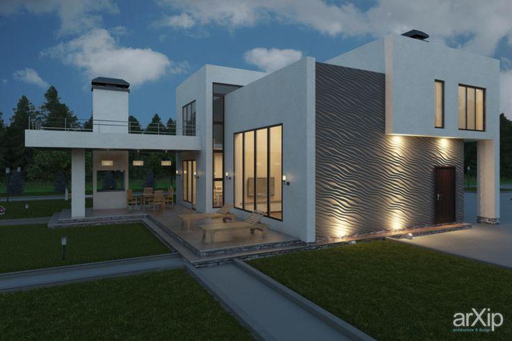 Экстерьер дома с использованием 3d панели Duna на фасаде: архитектура, 2 эт | 6м, жилье, хай-тек, 200 - 300 м2, коттедж, особняк, фасад - камень #architecture #2fl_6m #housing #hitech #200_300m2 #cottage #mansion #facade_stone arXip.com