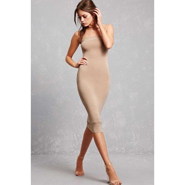 Forever21 Strapless Bodycon Dress ($28) ❤ liked on Polyvore featuring dresses, nude, full length dresses, bodycon cocktail dresses, elastic dress, strapless dress and strapless cocktail dresses