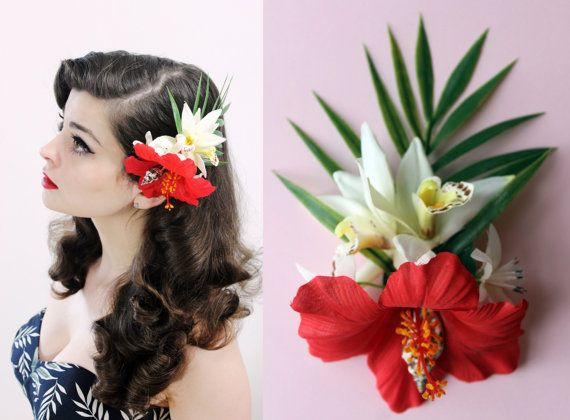 """Flower hair clip - Tiki, Rockabilly and pin-up hairstyle - Fascinator """"Tahitian Sunset"""" by Oceanfront"""